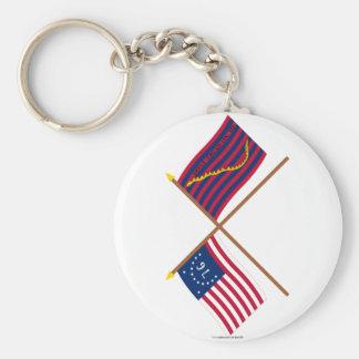 Crossed Bennington and South Carolina Navy Flags Key Chain