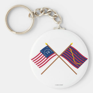 Crossed Bennington and South Carolina Navy Flags Keychains