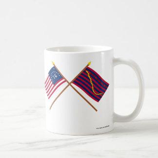 Crossed Bennington and South Carolina Navy Flags Mugs