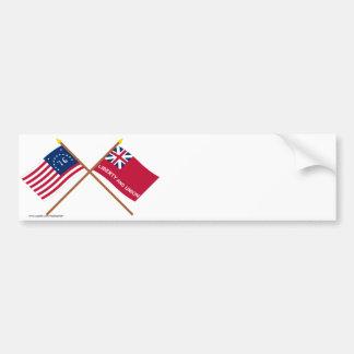 Crossed Bennington and Taunton Flags Bumper Sticker