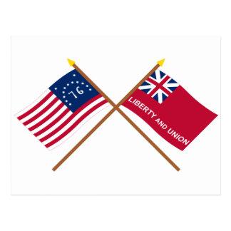 Crossed Bennington and Taunton Flags Postcard