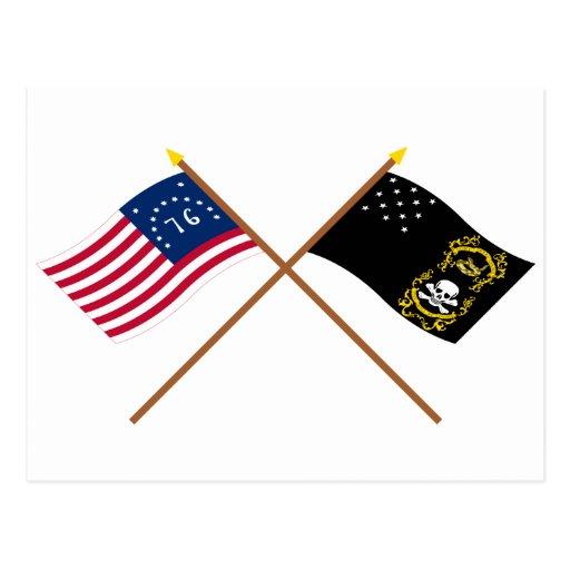 Crossed Bennington and Veterans Exempt Flags Postcard
