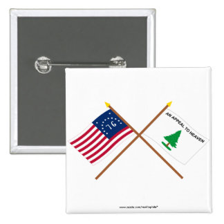 Crossed Bennington and Washington's Cruisers Flags 2 Inch Square Button