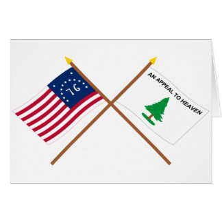 Crossed Bennington and Washington's Cruisers Flags Greeting Card