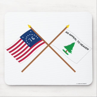 Crossed Bennington and Washington's Cruisers Flags Mouse Pad