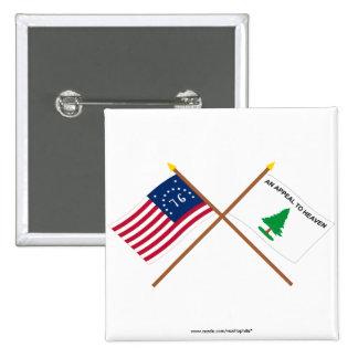 Crossed Bennington and Washington's Cruisers Flags Pinback Button