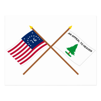 Crossed Bennington and Washington's Cruisers Flags Postcard