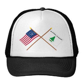 Crossed Bennington and Washington's Cruisers Flags Trucker Hat