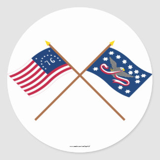 Crossed Bennington and Whiskey Rebellion Flags Classic Round Sticker