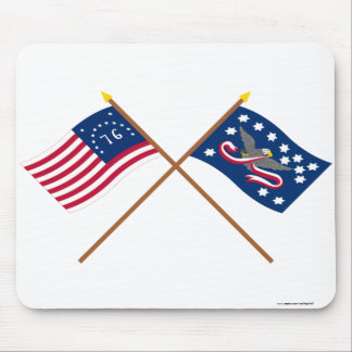 Crossed Bennington and Whiskey Rebellion Flags Mouse Pads