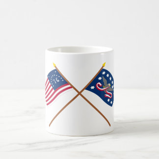 Crossed Bennington and Whiskey Rebellion Flags Classic White Coffee Mug