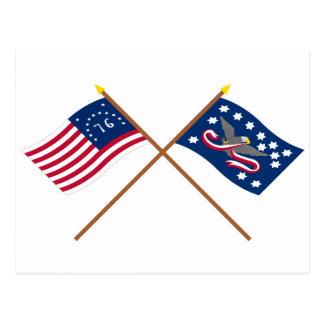 Crossed Bennington and Whiskey Rebellion Flags Postcard