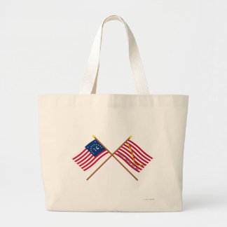 Crossed Bennington Flag and Navy Jack Canvas Bag