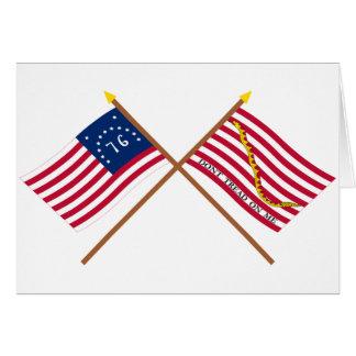 Crossed Bennington Flag and Navy Jack Greeting Card