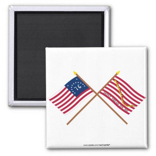 Crossed Bennington Flag and Navy Jack Fridge Magnets
