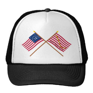 Crossed Bennington Flag and Navy Jack Trucker Hat