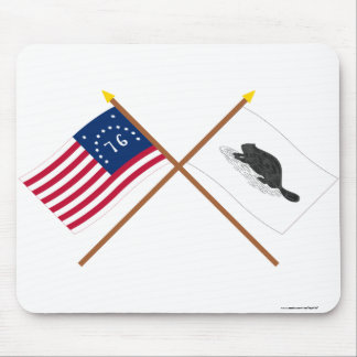 Crossed Bennington Flag and New York Ensign Mouse Pad