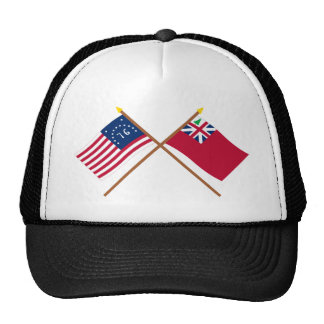 Crossed Bennington Flag and  Pine Tree Red Ensign Mesh Hats