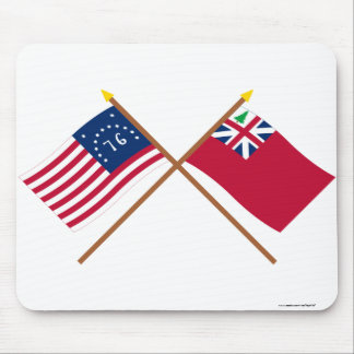 Crossed Bennington Flag and  Pine Tree Red Ensign Mouse Pad