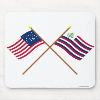 Crossed Bennington Flag & New England Navy Ensign Mouse Pad