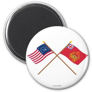 Crossed Bennington & Proctor's Batallion Flags 2 Inch Round Magnet
