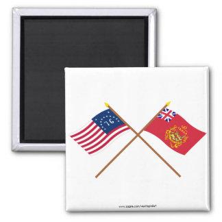 Crossed Bennington & Proctor's Batallion Flags 2 Inch Square Magnet