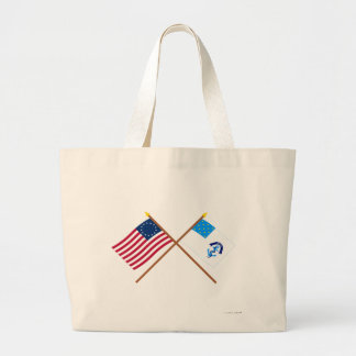 Crossed Betsy Ross and 2nd Rhode Island Regiment F Large Tote Bag