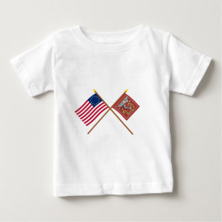 Crossed Betsy Ross and Bedford Flags Baby T-Shirt