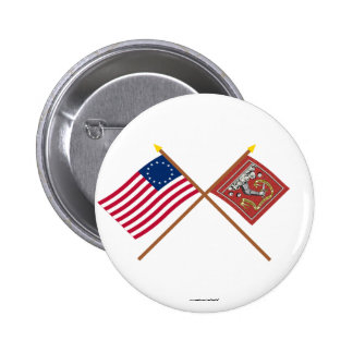 Crossed Betsy Ross and Bedford Flags Pinback Button
