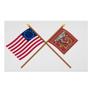Crossed Betsy Ross and Bedford Flags Print
