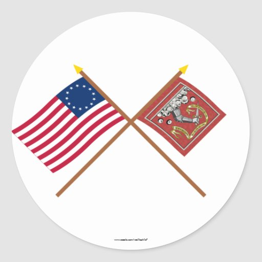 Crossed Betsy Ross and Bedford Flags Round Sticker