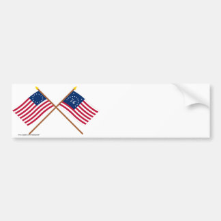 Crossed Betsy Ross and Bennington Flags Bumper Sticker