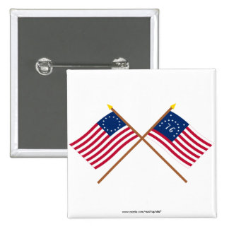 Crossed Betsy Ross and Bennington Flags Button