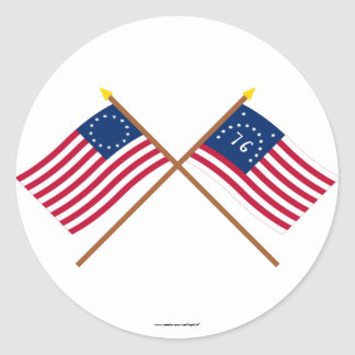 Crossed Betsy Ross and Bennington Flags Classic Round Sticker