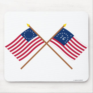 Crossed Betsy Ross and Bennington Flags Mouse Pad