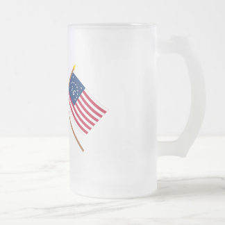 Crossed Betsy Ross and Bennington Flags 16 Oz Frosted Glass Beer Mug