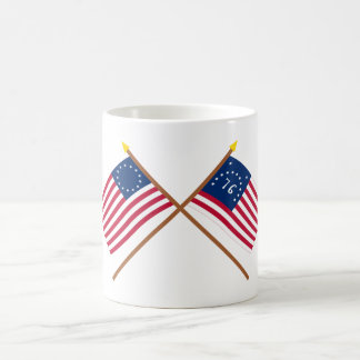 Crossed Betsy Ross and Bennington Flags Coffee Mugs