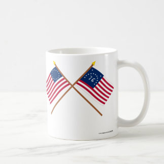 Crossed Betsy Ross and Bennington Flags Classic White Coffee Mug