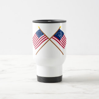 Crossed Betsy Ross and Bennington Flags Travel Mug