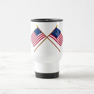 Crossed Betsy Ross and Bennington Flags Travel Mug
