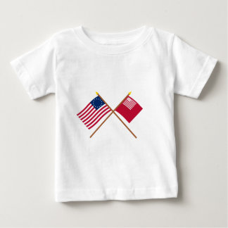 Crossed Betsy Ross and Brandywine Flags Baby T-Shirt