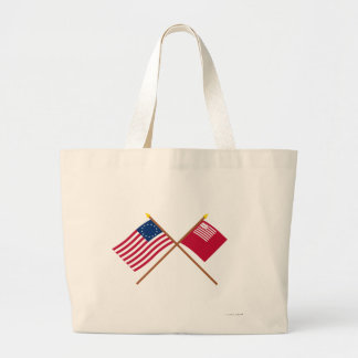 Crossed Betsy Ross and Brandywine Flags Large Tote Bag