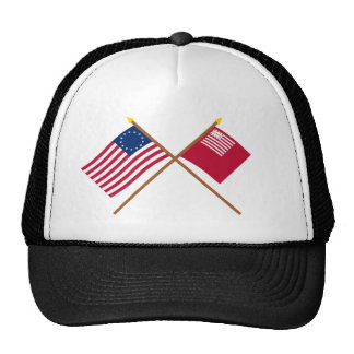 Crossed Betsy Ross and Brandywine Flags Mesh Hats