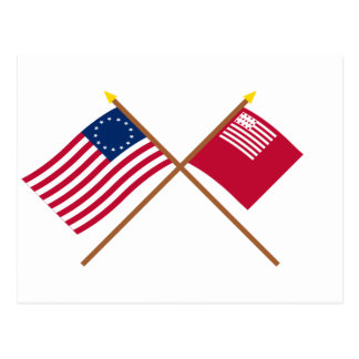 Crossed Betsy Ross and Brandywine Flags Postcard