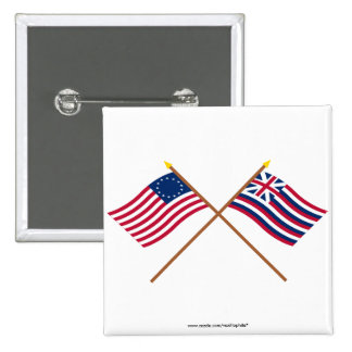 Crossed Betsy Ross and Brigantine Lexington Flags 2 Inch Square Button