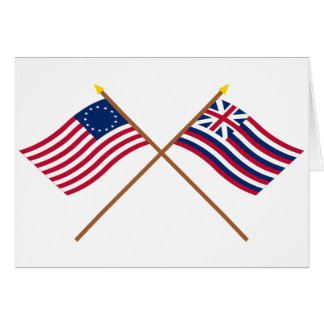 Crossed Betsy Ross and Brigantine Lexington Flags Card