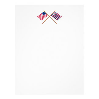 Crossed Betsy Ross and Brigantine Lexington Flags Letterhead