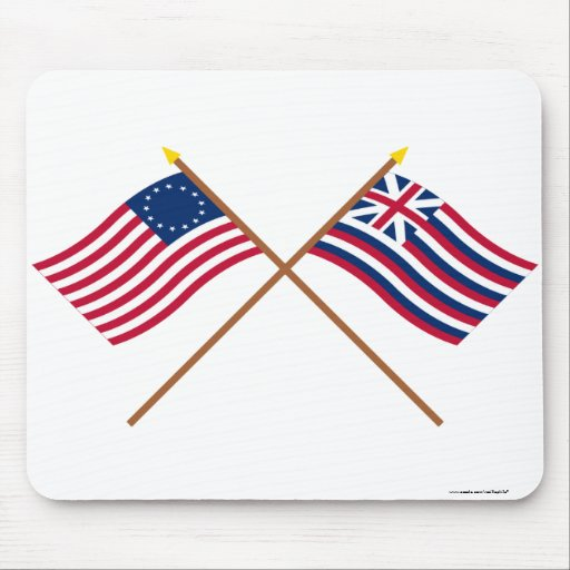 Crossed Betsy Ross and Brigantine Lexington Flags Mousepads