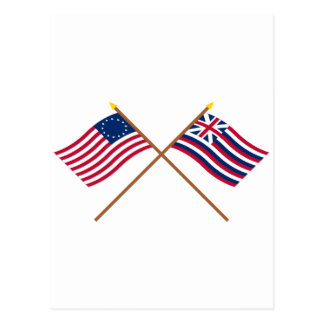 Crossed Betsy Ross and Brigantine Lexington Flags Postcard