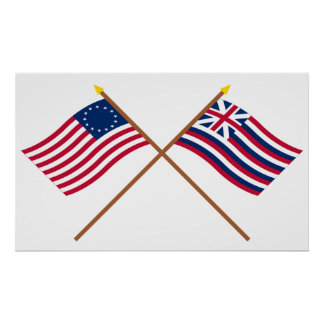 Crossed Betsy Ross and Brigantine Lexington Flags Poster